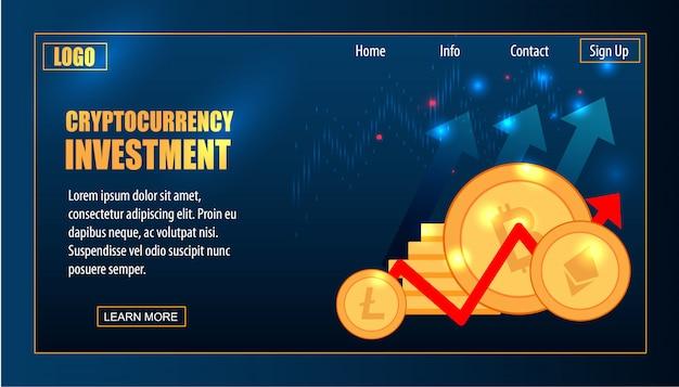 Bitcoin e cryptocarrency trade future virtuale Vettore Premium
