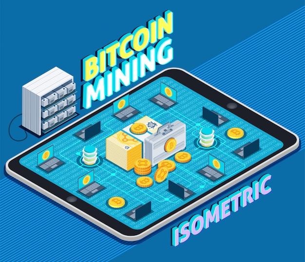 Bitcoin mining composizione isometrica Vettore gratuito