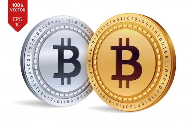 Bitcoin. monete d'oro e d'argento con bitcoin isolato. criptovaluta. Vettore Premium