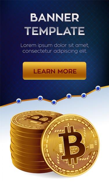 Bitcoin. pila di monete d'oro di bitcoin. modello di banner modificabile di criptovaluta. Vettore Premium