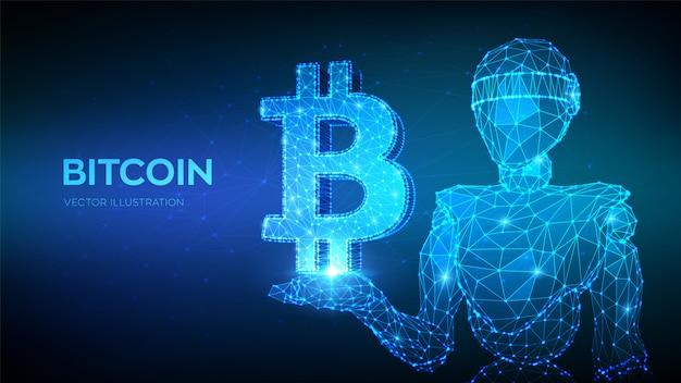Bitcoin. robot poligonale basso 3d astratto che tiene icona bitcoin. Vettore Premium