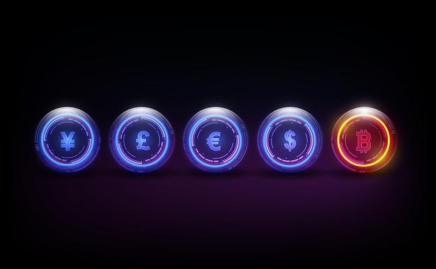 Bitcoin valuta digitale, dollaro, euro, sterlina, yen e yuan in forma di culla di newton, concetto di finanza mondiale fintech. Vettore Premium