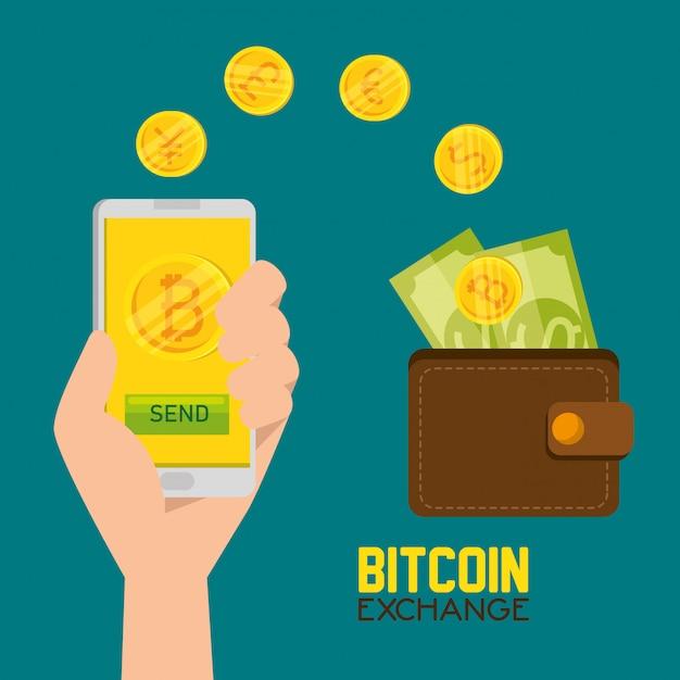 Bitcoin valuta virtuale e portafoglio con fatture Vettore gratuito