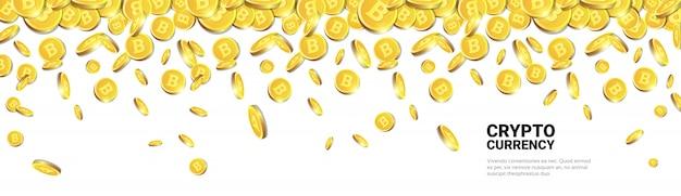 Bitcoins dorati che volano sopra la priorità bassa bianca del modello con lo spazio della copia monete realistiche 3d con il segno di criptovaluta Vettore Premium
