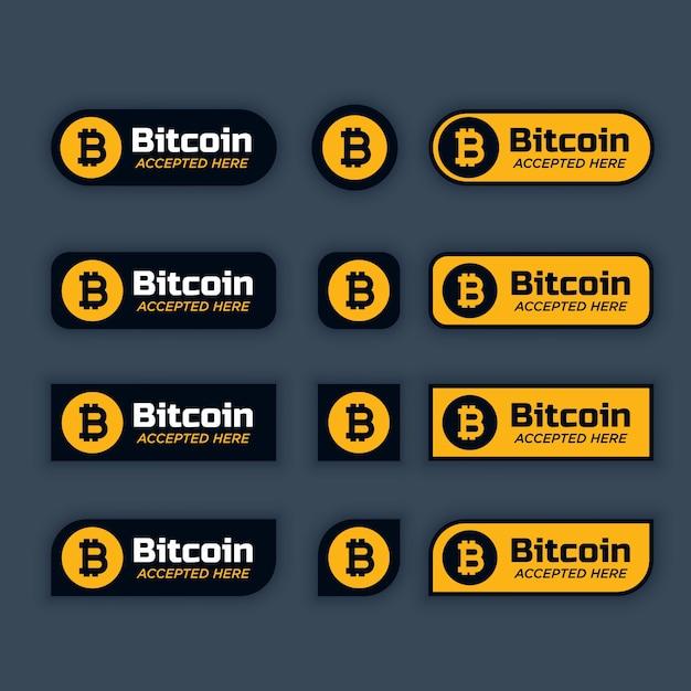 Bitcoins pulsanti o etichette di crittografia Vettore gratuito