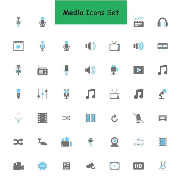 Black and blue media icons set Vettore gratuito