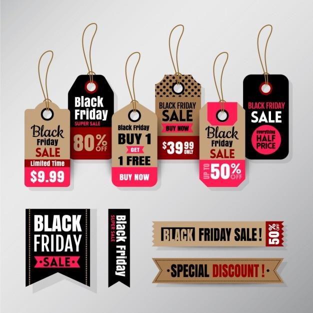 Black friday tag banner nastro Vettore gratuito