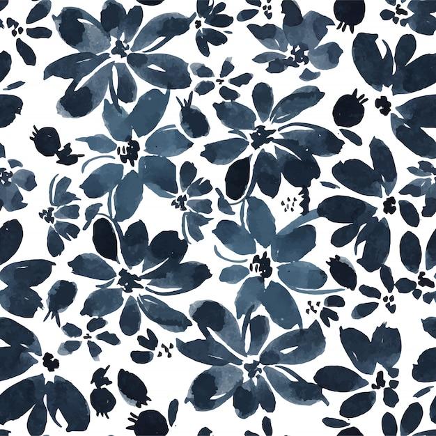 Black ink daisy seamless pattern Vettore Premium