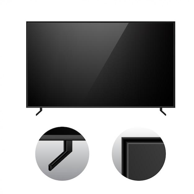 Black modern tv mockup Vettore Premium
