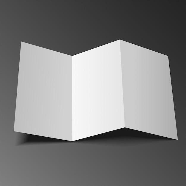 Blank mock up trifold paper leaflet, flyer, broadsheet Vettore Premium