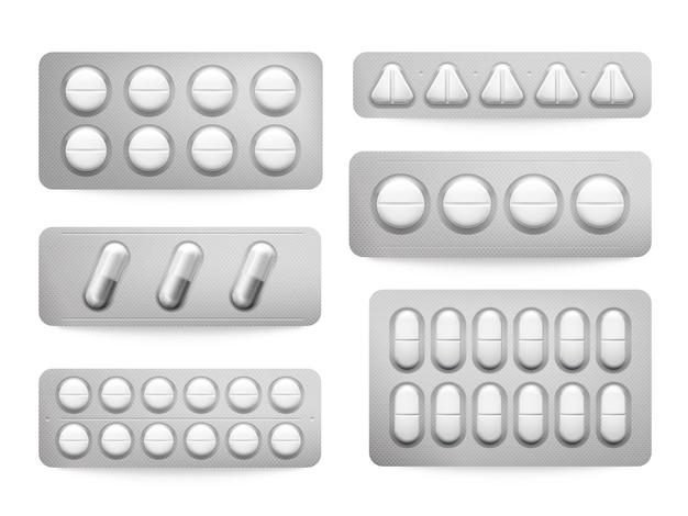 Blister 3d confeziona pillole bianche di paracetamolo, capsule di aspirina, antibiotici o antidolorifici. Vettore Premium