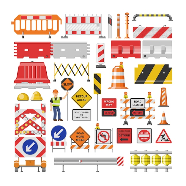 Blocchetti di avvertimento e barricata di strada del traffico del segnale stradale sull'insieme dell'illustrazione della strada principale della deviazione di blocco stradale e della barriera bloccata di lavoro stradale su fondo bianco Vettore Premium