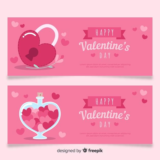 Blocco e pozione banner di san valentino Vettore gratuito