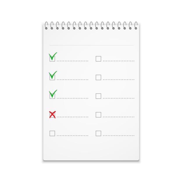 Blocco note con lista di controllo con segni di spunta verdi Vettore Premium