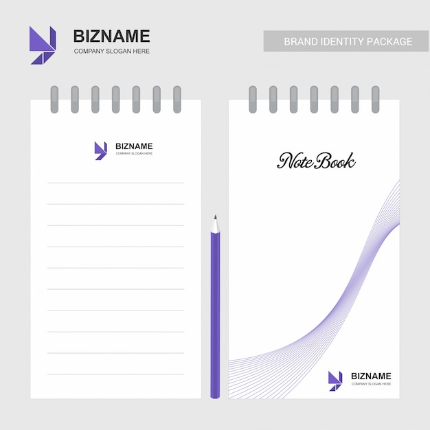 Blocco note design aziendale con logo e design elegante Vettore gratuito