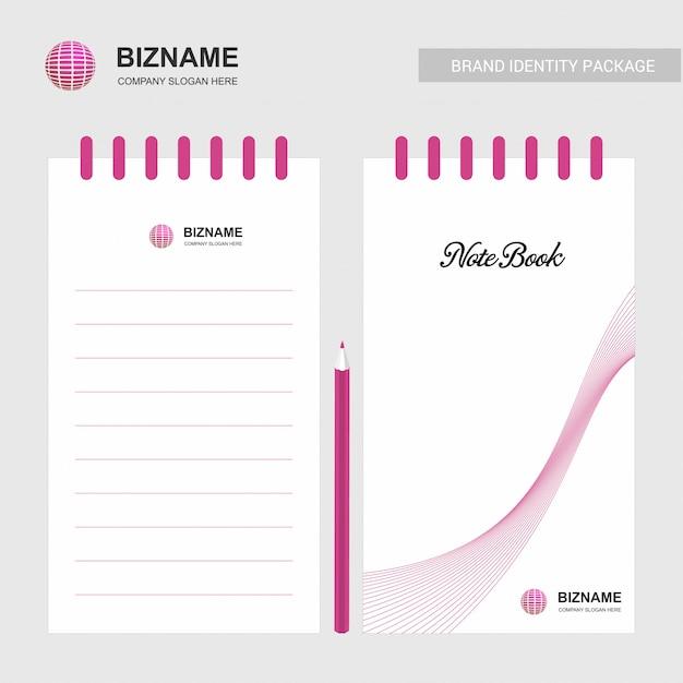 Blocco note design aziendale con logo vettoriale Vettore Premium