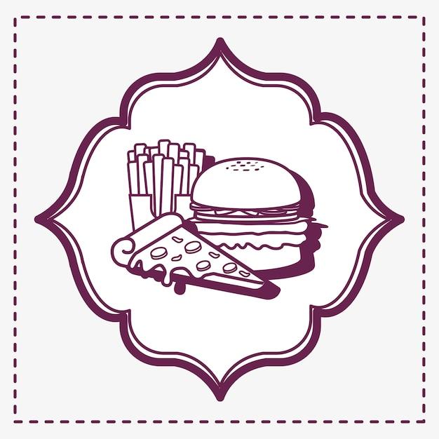 Blocco per grafici decorativo con l'icona di patatine fritte e dell'hamburger sopra priorità bassa bianca Vettore Premium