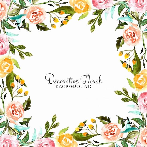Blocco per grafici decorativo del fiore astratto dell'acquerello Vettore gratuito