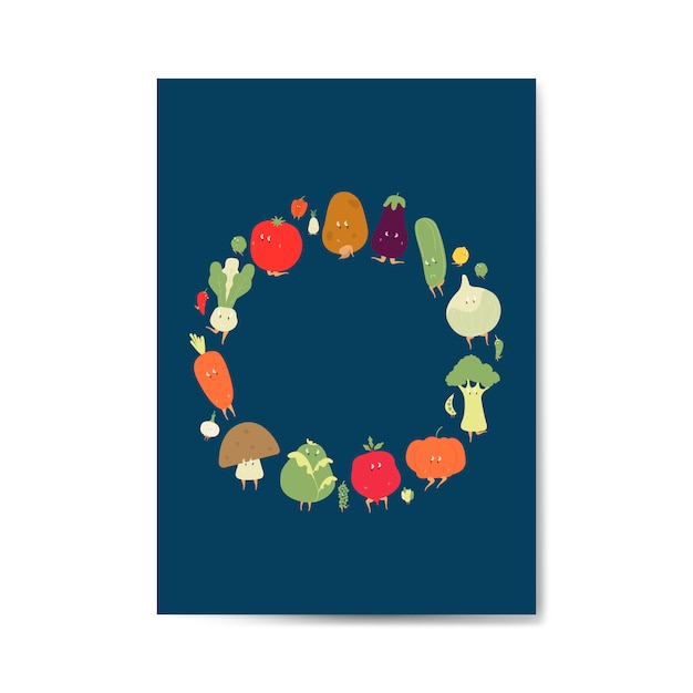 Blocco per grafici di fumetti vegetali sul vettore della cartolina d'auguri Vettore gratuito