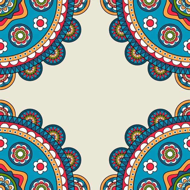 Blocco per grafici di hippy di doodle rossetes indiano Vettore Premium