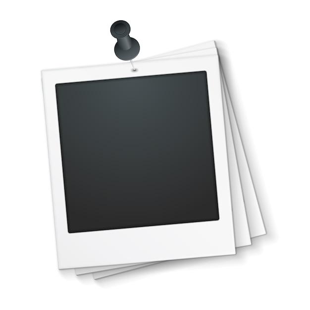 Blocco per grafici in bianco della foto con il perno di spinta, illustrazione di vettore eps10 Vettore Premium