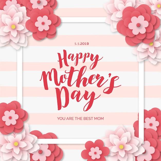 Blocco per grafici moderno di giorno di madri con i fiori di papercut Vettore gratuito