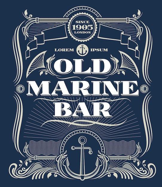 Blocco per grafici occidentale di vettore del bordo dell'annata, vecchia etichetta della barra marina. cornice di illustrazione con ancora per marine Vettore Premium