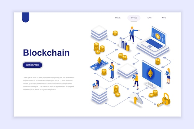Blockchain moderno concetto di design piatto isometrico. Vettore Premium