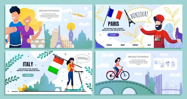 Blog di viaggio, pagina web di destinazione del pacchetto, banner Vettore Premium