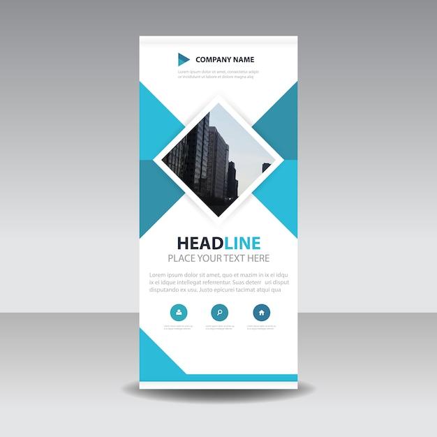 Blu creativo quadrato roll up banner template Vettore gratuito
