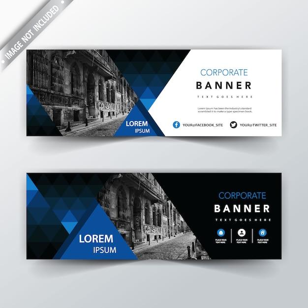 Blu geometrico indietro e banner web anteriore Vettore gratuito