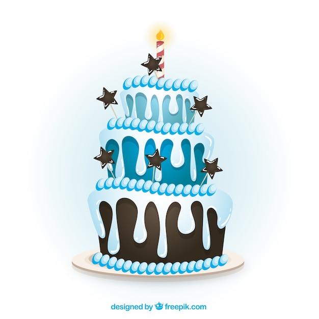 Blu torta di compleanno in stile cartone animato