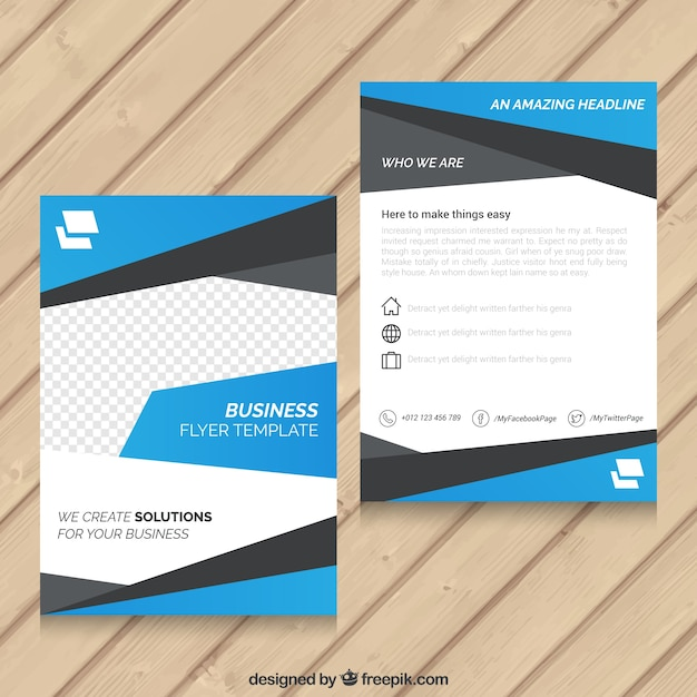 Blue abstract template Business Flyer Vettore Premium