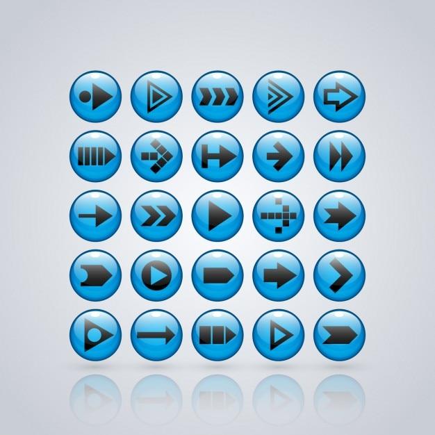 Blue collection frecce pulsanti Vettore gratuito