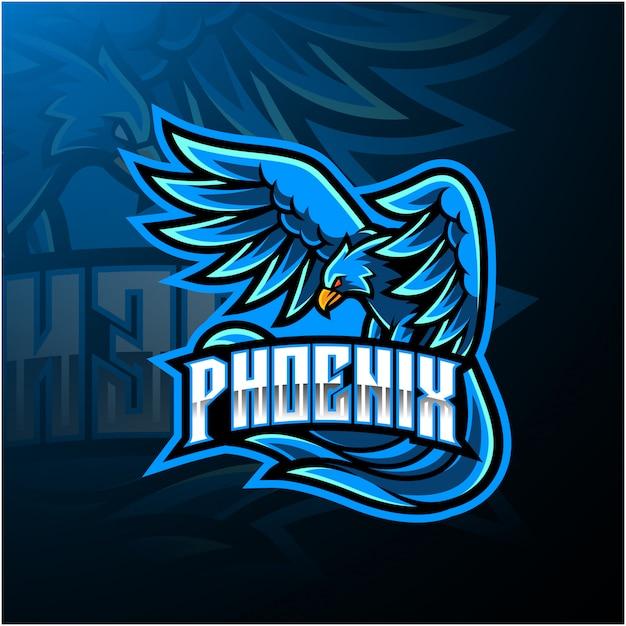 Blue phoenix esport mascot logo design Vettore Premium