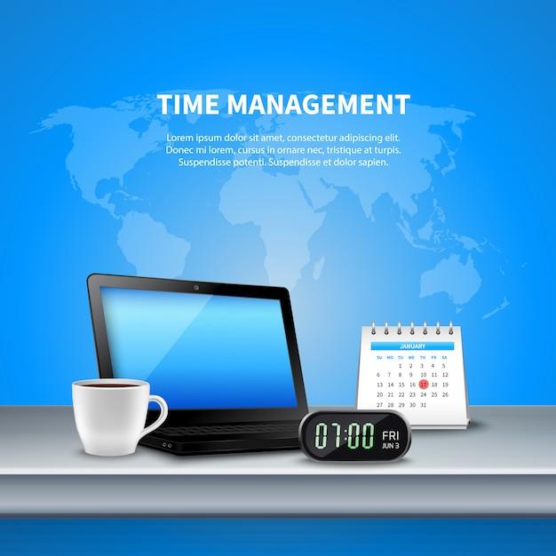 Blue time management composizione realistica Vettore gratuito
