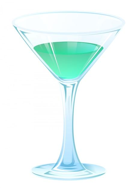 Blue tipple cocktail in calice di vetro sullo stelo. bevanda alcolica forte Vettore Premium