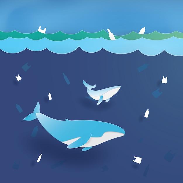 Blue whale nell'inquinamento di plastica dell'oceano, salva l'oceano, conservazione e ambiente sostenibile, arte di carta, taglio di carta, vettore di mestiere, disegno Vettore Premium