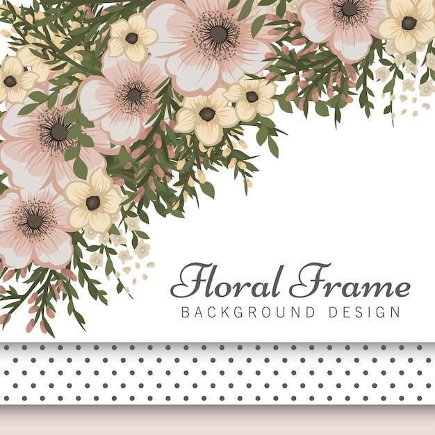 Boarder fiore con fiori beige Vettore gratuito