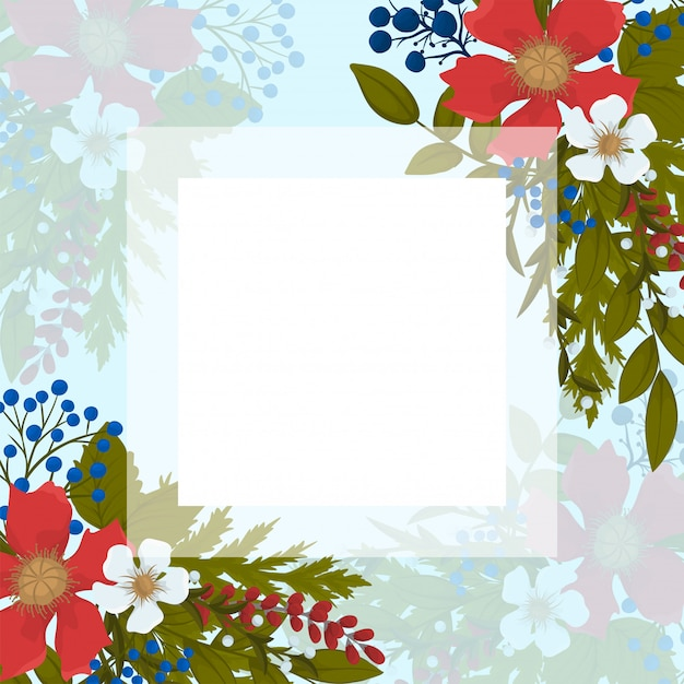 Boarder fower - fiori rossi, celesti, bianchi Vettore gratuito