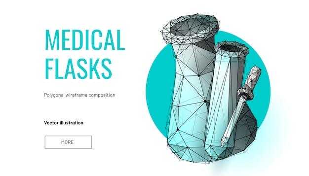 Boccette mediche. wireframe basso poli Vettore Premium
