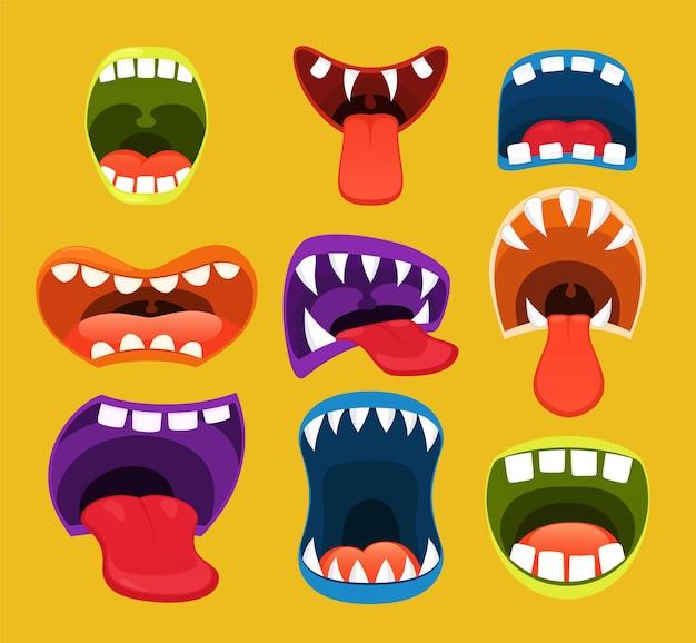 Bocche di mostri, espressione facciale divertente Vettore Premium