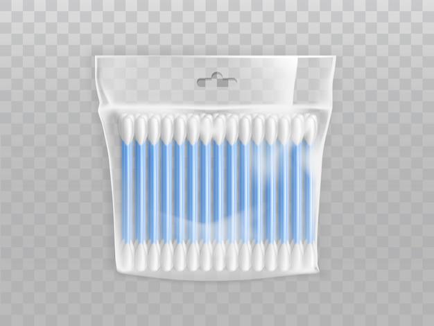 Boccioli di cotone o tamponi in confezione di plastica vuota con foro per appendere Vettore gratuito
