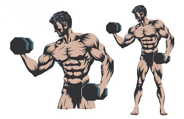Bodybuilder maschio corpo pieno con manubri Vettore Premium