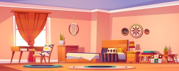 Boho, interno camera da letto bohémien, design della stanza vuota Vettore gratuito