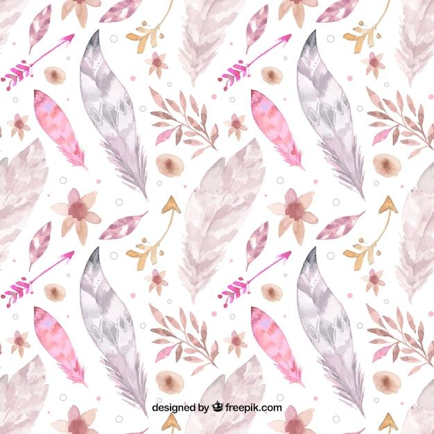 Boho pattern con piume acquerello Vettore gratuito