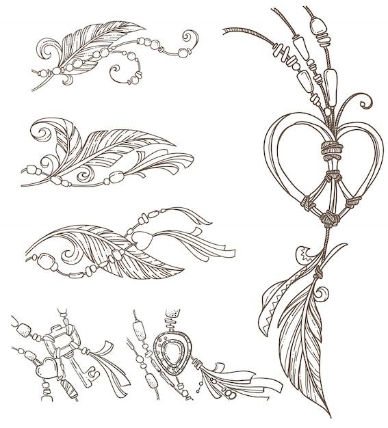 Boho pulcino elementi disegnati a mano, stile doodle Vettore Premium