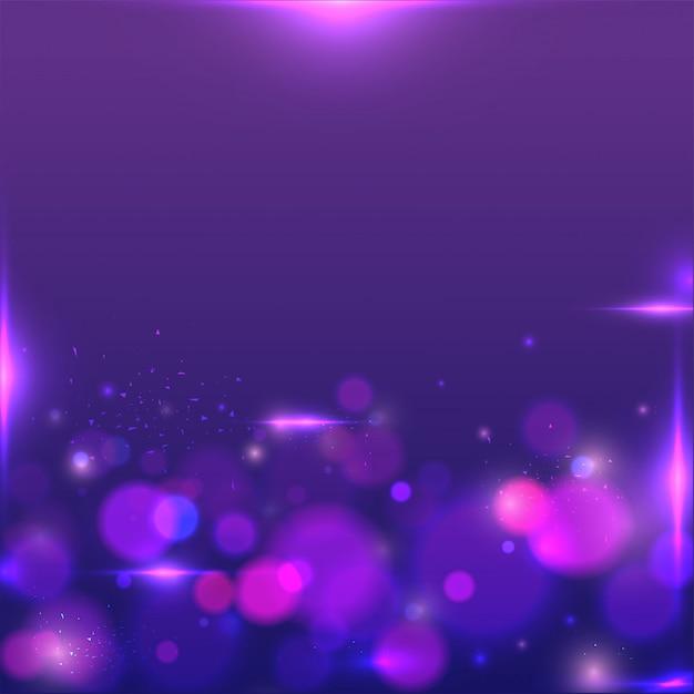 Bokeh brillante o sfocato sullo sfondo viola astratto. Vettore Premium