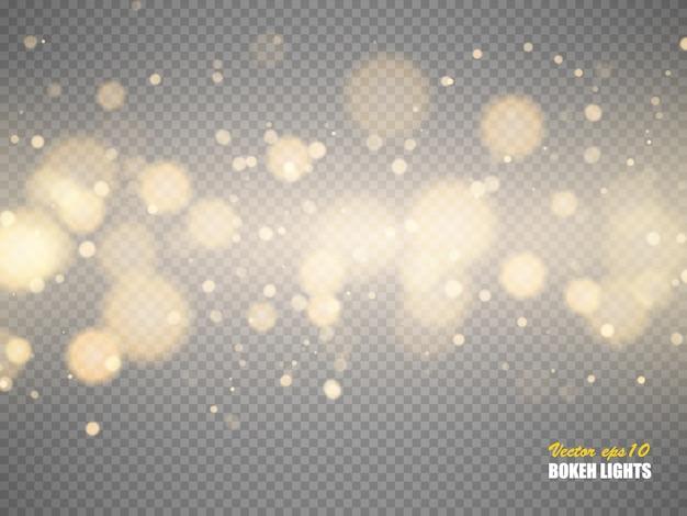 Bokeh illumina le particelle magiche vaghe vaghe astratte Vettore Premium