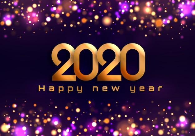 Bokeh scintilla sfondo natale 2020, luci di capodanno. Vettore Premium